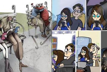 7 σκίτσα που δείχνουν ότι τα smartphone έχουν κατακλύσει την ζωή μας