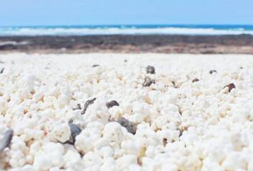 Μια παραλία με βότσαλα σε σχήμα… ποπ κορν!