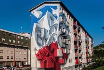 Τρισδιάστατα graffiti αιωρούνται στις επιφάνειες των κτιρίων